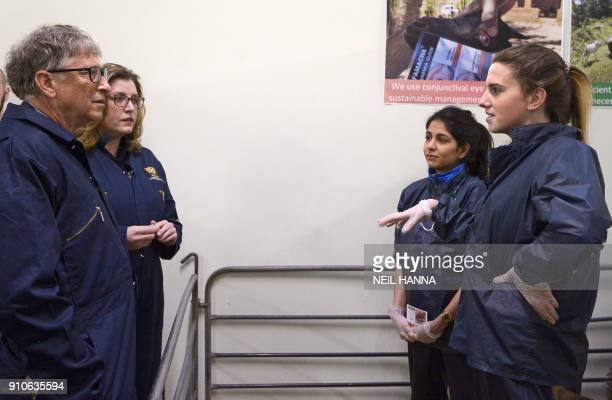 US entrepeneur and cofounder of the Microsoft Corporation Bill Gates and Britain's International Development Secretary Penny Mordaunt meet students...
