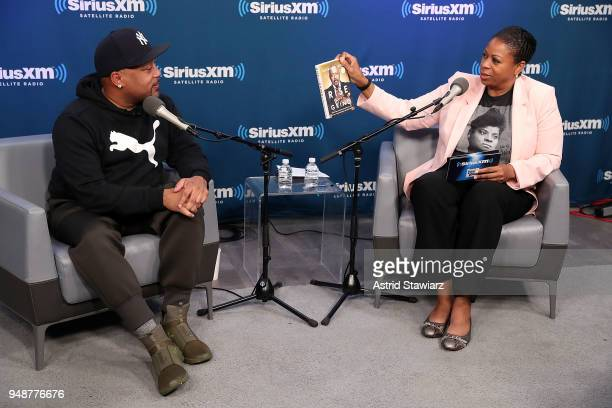 Entrepreneur and author Daymond John talks with SiriusXM host Karen Hunter for SiriusXMÕs Town Hall series at SiriusXM Studios on April 19 2018 in...