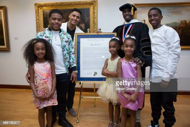Entrepreneur and philanthropist Sean 'Diddy' Combs at Howard University's 146th commencement exercises on May 10 2014 in Washington DC Also honored...