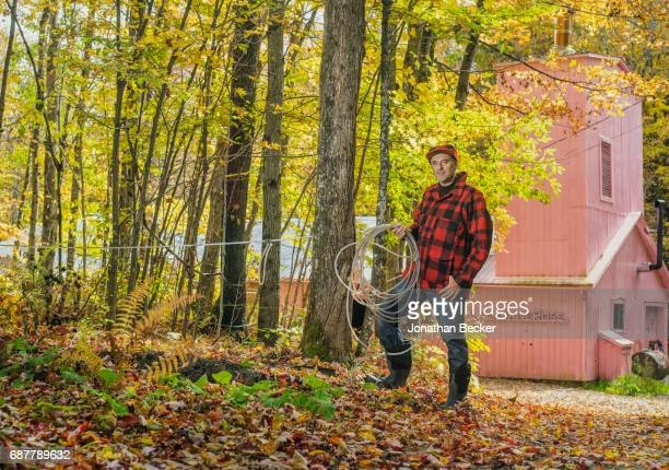 Entrepreneur and syrup producer Francois Roberge is photographed for Vanity Fair Magazine on September 12 2016 at his sugar shack in LacBrome Quebec...