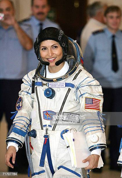 US entrepreneur Anousheh Ansari the first female space tourist arrives for an exam at a Cosmonaut Training Centre in Star City outside Moscow 24...