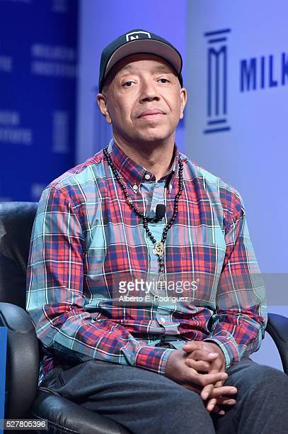 Entrepreneur author activist and philanthropist Russell Simmons speaks onstage during 2016 Milken Institute Global Conference at The Beverly Hilton...