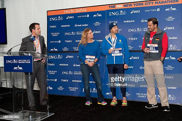 Entrepreneur Bill Rancic restauranteur Joe Bastianich and meteorologist Stephanie Abrams attend the 2013 ING NYC Marathon press conference at the ING...