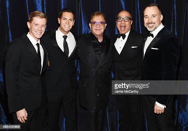 Entrepreneur Chris Hughes political activist Sean Eldridge Sir Elton John President of the Ford Foundation Darren Walker and filmmaker David Furnish...