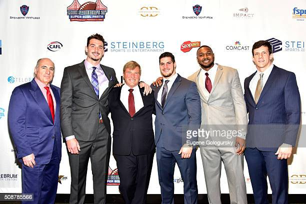 Entrepreneur Cosmo DeNicola, football player Paxton Lynch, sports agent Leigh Steinberg, and football players Dan Vitale, Jonathan Woodard, and...