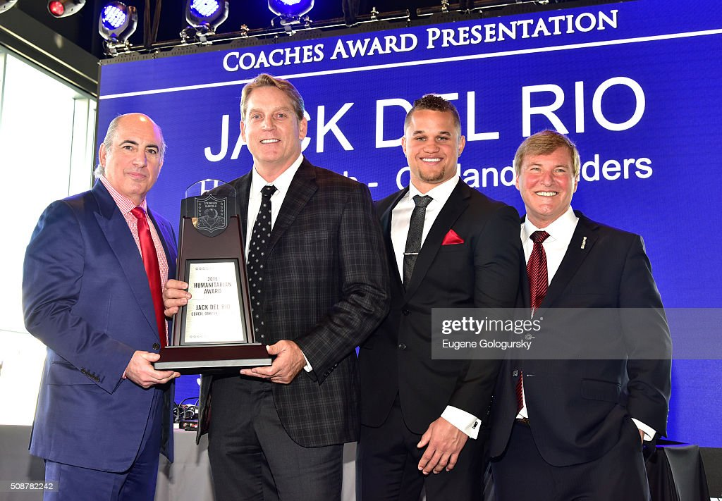 Entrepreneur Cosmo DeNicola, NFL head coach Jack Del Rio, football player Daniel Lasco, and sports agent Leigh Steinberg pose onstage during the 29th Annual Leigh Steinberg Super Bowl Party on February 6, 2016 in San Francisco, California.