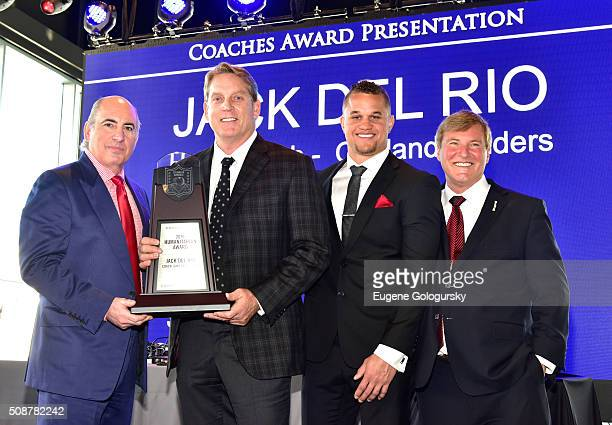 Entrepreneur Cosmo DeNicola NFL head coach Jack Del Rio football player Daniel Lasco and sports agent Leigh Steinberg pose onstage during the 29th...