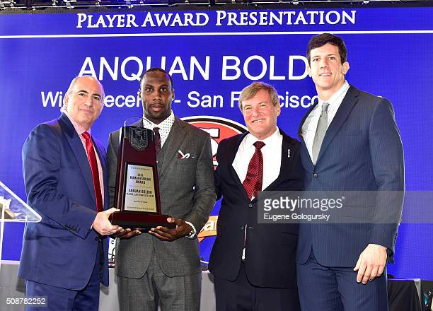 Entrepreneur Cosmo DeNicola, professional football player Anquan Boldin, sports agent Leigh Steinberg, and football player Steven Scheu pose onstage...