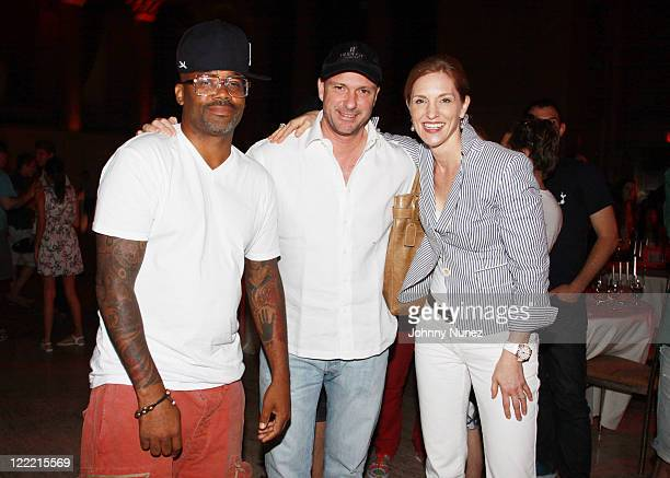 Entrepreneur Dame Dash restauranteur Giuseppe Cipriani and President of Hublot US and Latin America Beatrice de Quervain are seen at Cipriani Wall...