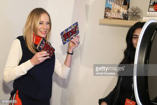 Entrepreneur Dee Ocleppo poses with Judith Leiber products at the Papyrus Café during IMG NYFW The Shows at Spring Studios on February 9 2018 in New...