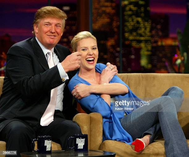 Entrepreneur Donald Trump and Actress Scarlett Johansson on The Tonight Show with Jay Leno on January 13 2004 at the NBC Studios in Burbank...