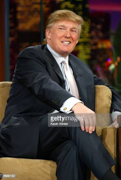Entrepreneur Donald Trump on The Tonight Show with Jay Leno on January 13 2004 at the NBC Studios in Burbank California Photo by Kevin Winter/Getty...