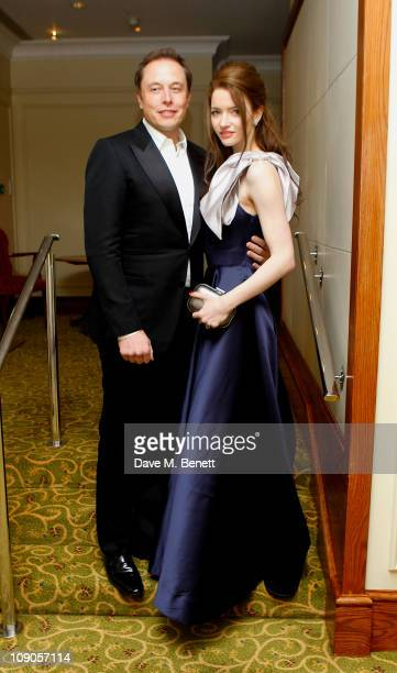 Entrepreneur Elon Musk and actress Talulah Riley arrive at the dinner following the Orange British Academy Film Awards at Grosvenor House on February...