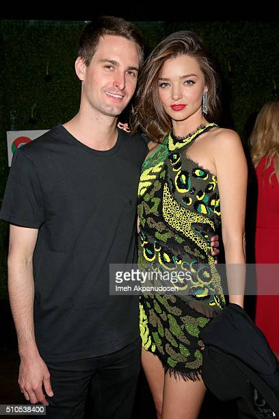 Entrepreneur Evan Spiegel and Model Miranda Kerr attend the Republic Records Grammy Celebration presented by Chromecast Audio at Hyde Sunset Kitchen...