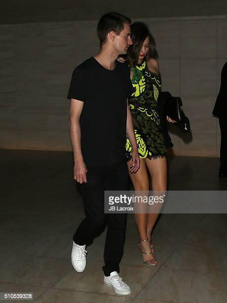 Entrepreneur Evan Spiegel and model Miranda Kerr attend Warner Music Group's annual Grammy celebration at Milk Studios Los Angeles on February 15...