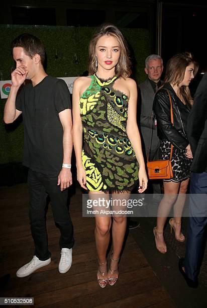 Entrepreneur Evan Spiegel and Model Miranda Kerr attends the Republic Records Grammy Celebration presented by Chromecast Audio at Hyde Sunset Kitchen...