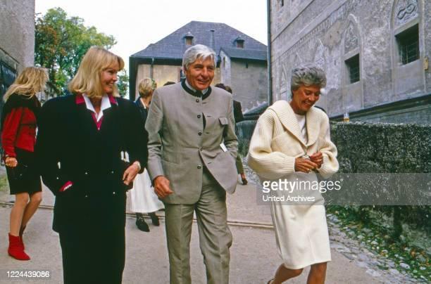 Entrepreneur Gunter Sachs and wife Mirja Larsson attending a brunch on Hohensalzburg fortress Austria 1986