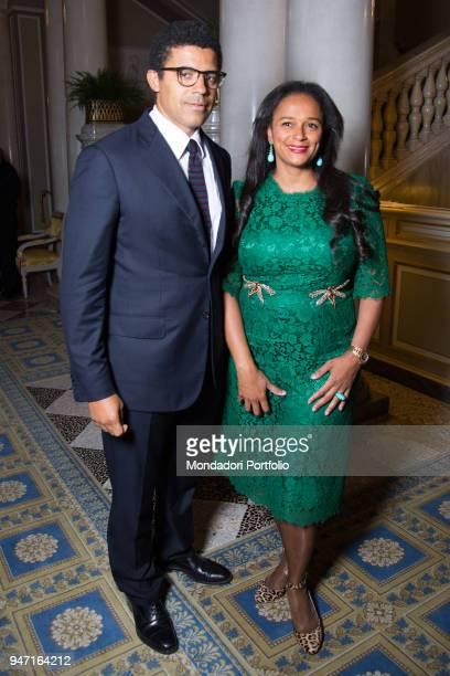 Entrepreneur Isabel dos Santos with her husband art collector Sindika Dokolo during the event Forum Ambrosetti in Villa d'Este Cernobbio Italy 3rd...