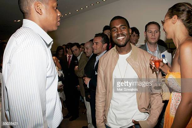 Entrepreneur JayZ and musician Kanye West attend the launch party for his limited edition Audemars Piguet watches and iPods at Audemars Piguet...