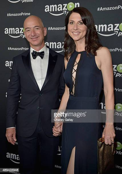 Entrepreneur Jeff Bezos and MacKenzie Bezos attend Amazon Prime's Emmy Celebration at The Standard Hotel on September 20 2015 in Los Angeles...