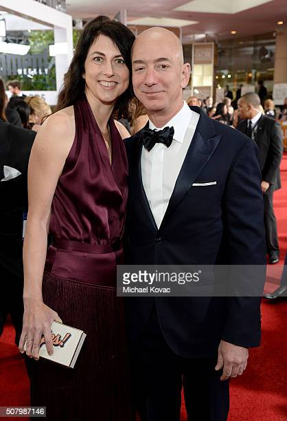 Entrepreneur Jeff Bezos and MacKenzie Bezos attend the 73rd Annual Golden Globe Awards held at the Beverly Hilton Hotel on January 10 2016 in Beverly...