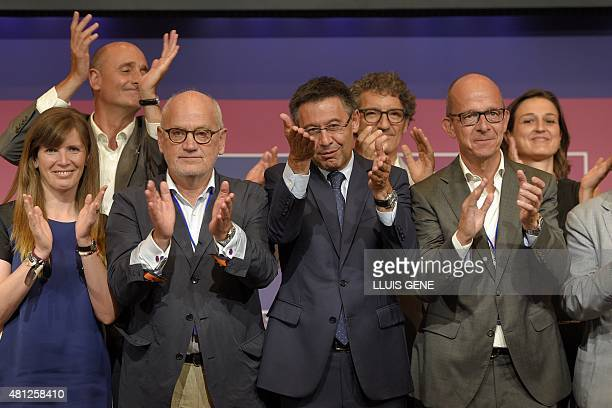Entrepreneur Josep Maria Bartomeu and his team celebrate after winning the elections for FC Barcelona presidency at the Camp Nou stadium in Barcelona...