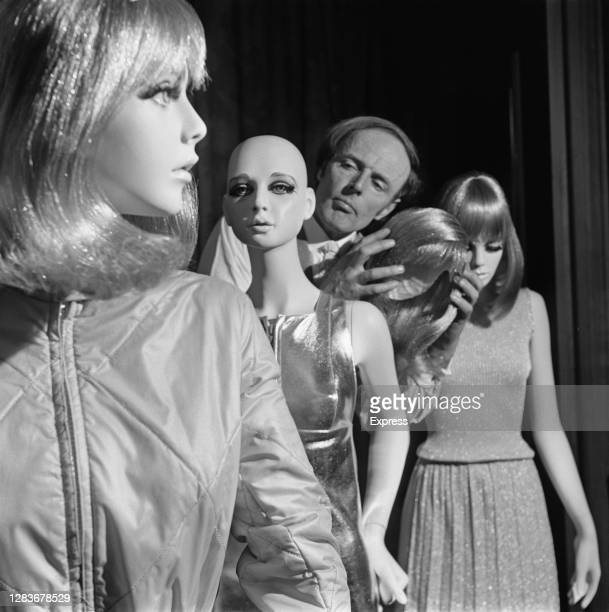 Entrepreneur Keith Gems with his range of display mannequins inspired by female celebrities, UK, 21st February 1966. From left to right,