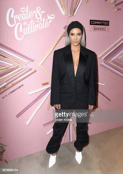 Entrepreneur Kim Kardashian West at the Create Cultivate Los Angeles conference in the Simon G Jewelry Green Room on February 24 2018 in Los Angeles...
