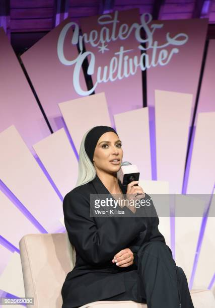 Entrepreneur Kim Kardashian West speaks onstage at the Create Cultivate Los Angeles conference in the Simon G Jewelry Green Room on February 24 2018...