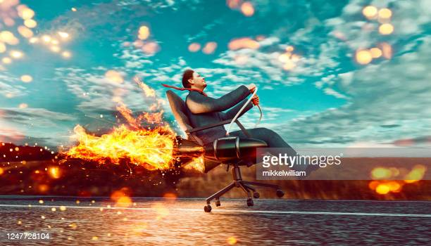 entrepreneur lanches his new project which is a rocket fuelled office chair - launch event stock pictures, royalty-free photos & images