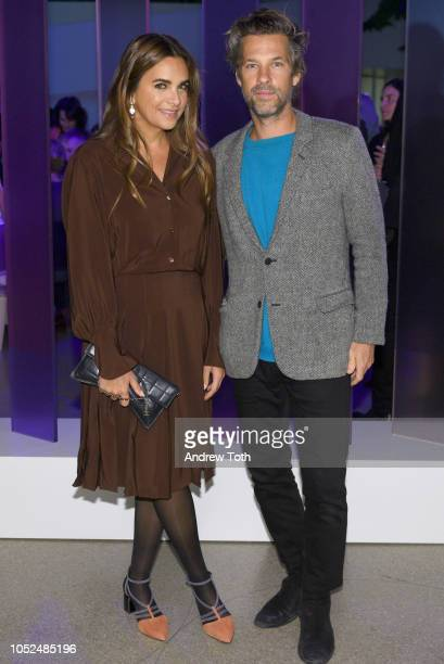 Entrepreneur Laure Heriard Dubreuil and Artist Aaron Young attend the Hugo Boss Prize 2018 Artists Dinner at the Guggenheim Museum on October 18 2018...