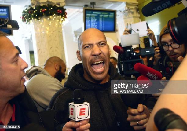 Entrepreneur LaVar Ball talks to journalists upon his arrival with his sons at Vilnius airport in Lithuania, on January 3 as the two teenagers arrive...