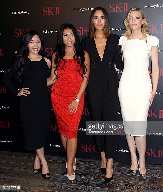 Entrepreneur Michelle Phan singer Anggun TV personality Louise Roe and actress Cate Blanchett attend the SKII #ChangeDestiny Forum held at the Andaz...