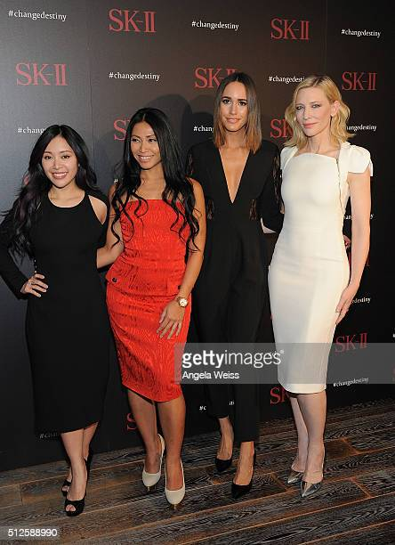Entrepreneur Michelle Phan singer Anggun TV personality Louise Roe and actress Cate Blanchett attend the SKII #ChangeDestiny Forum at Andaz Hotel on...