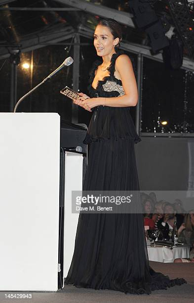 Entrepreneur Of The Year Jessica Alba accepts her award at the Glamour Women of the Year Awards in association with Pandora at Berkeley Square...