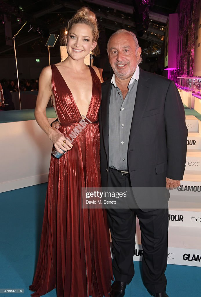 Entrepreneur of the Year winner Kate Hudson (L) and presenter Sir Philip Green attend the Glamour Women Of The Year awards at Berkeley Square Gardens on June 2, 2015 in London, England.