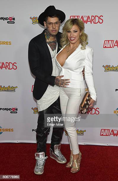 Entrepreneur Oliver Kult and his wife adult film actress Vyxen Steel attend the 2016 Adult Video News Awards at the Hard Rock Hotel Casino on January...