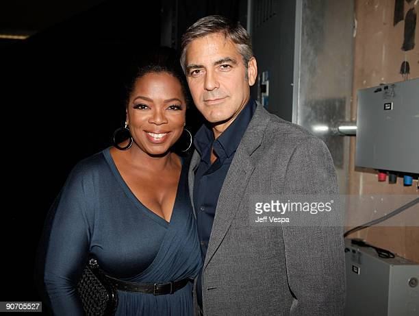 TORONTO ON SEPTEMBER 12 Entrepreneur Oprah Winfrey and actor George Clooney attend the 'Up In The Air' Premiere held at the Ryerson Theatre during...