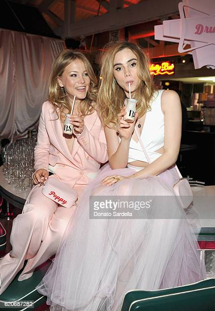 Entrepreneur Poppy Elizabeth Jamie and actress Suki Waterhouse attend Poppy Jamie Suki Waterhouse Leo Seigal and Cade Hudson celebration of the...