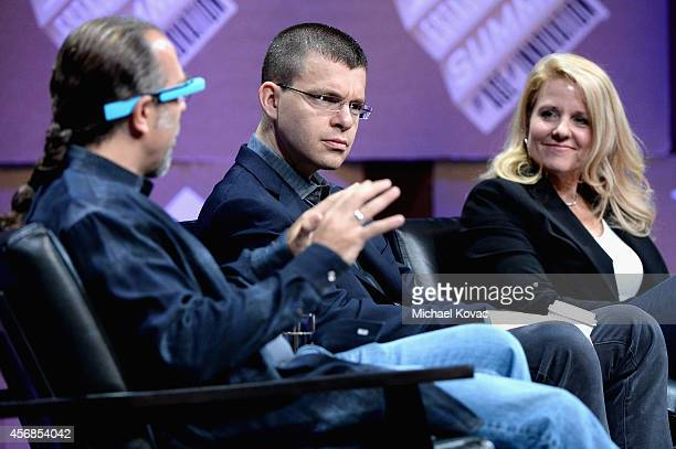 """Entrepreneur scientist and author Astro Teller Paypal Inc CoFounder Max Levchin and SpaceX COO Gwynne Shotwell speak onstage during """"Slingshots and..."""