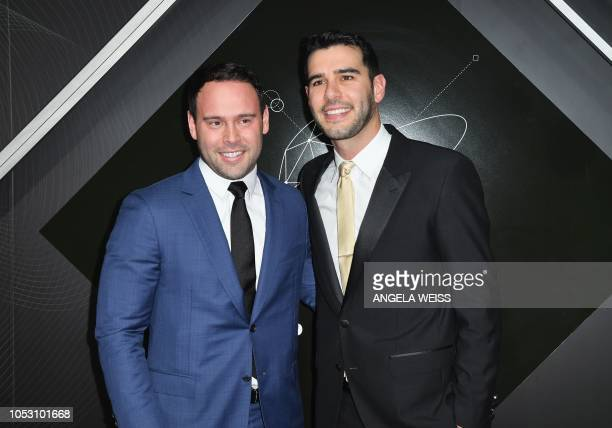 US entrepreneur Scooter Braun and his brother US author Adam Braun attend the 2018 Pencils of Promise Gala at Duggal Greenhouse Brooklyn Navy Yard on...