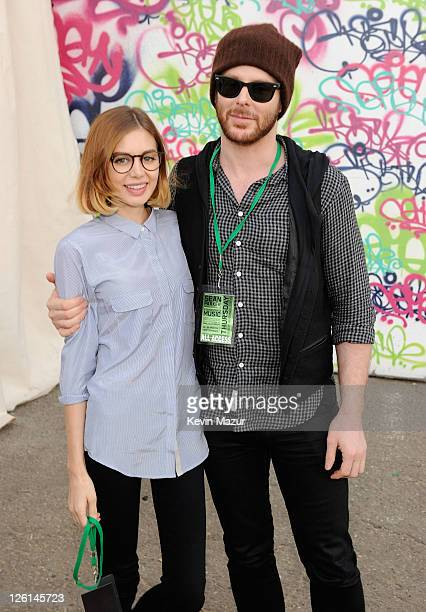 Entrepreneur Sean Parker and his fiancee Alexandra Lenas pose at Sean Parker's Celebration of Music on September 22 2011 in San Francisco California