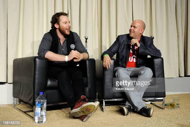 Entrepreneur Sean Parker and Spotify CEO Daniel Ek speak onstage during a panel at Sean Parker's Celebration of Music on September 22 2011 in San...