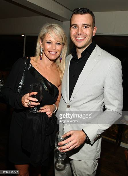 entrepreneur Sharlene Ludwig and producer Charlie Ebersol attend the Friends N Family Dinner at The Jack Warner Estate on February 10 2011 in Los...