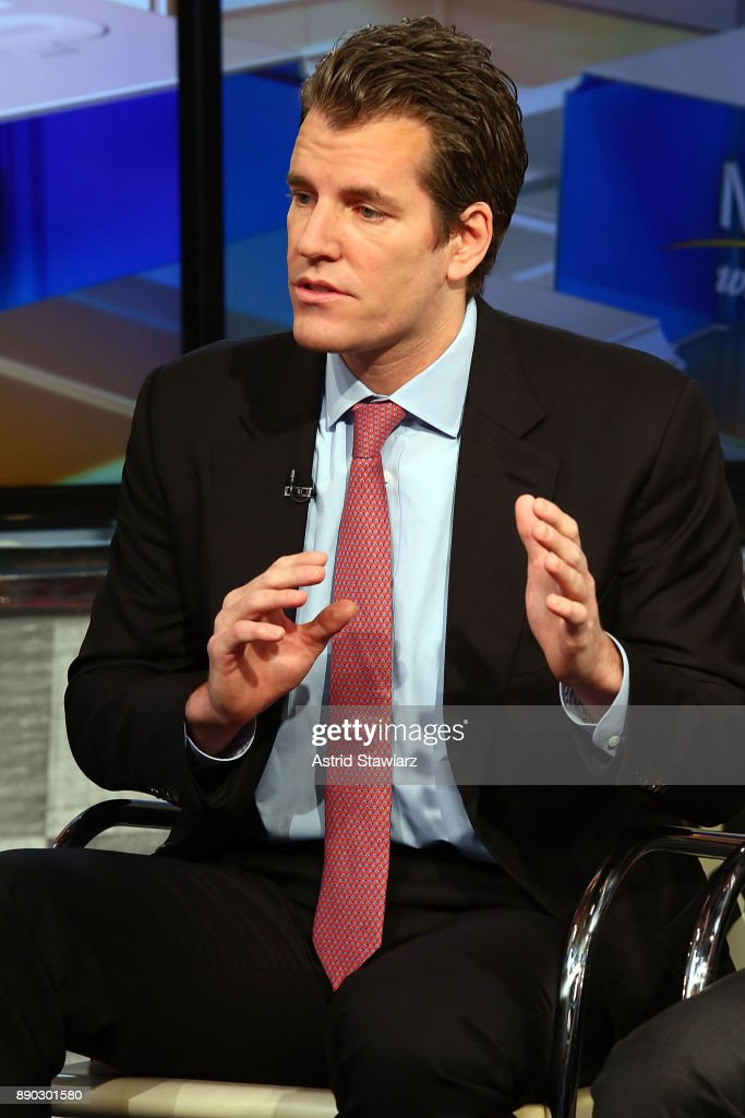 Entrepreneur Tyler Winklevoss discusses bitcoin with with Maria Bartiromo during FOX Business' 'Mornings With Maria' at FOX Studios on December 11, 2017 in New York City.