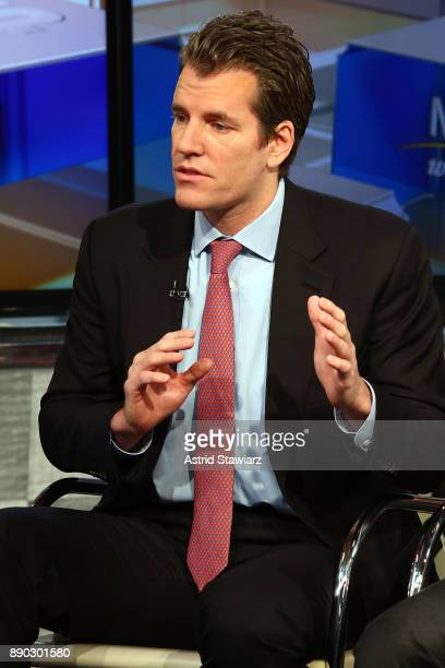 Entrepreneur Tyler Winklevoss discusses bitcoin with with Maria Bartiromo during FOX Business' 'Mornings With Maria' at FOX Studios on December 11...