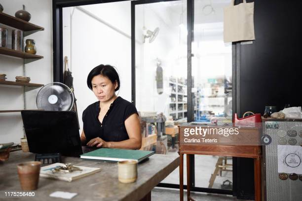 entrepreneur working on a computer in her art studio - シンガポール文化 ストックフォトと画像