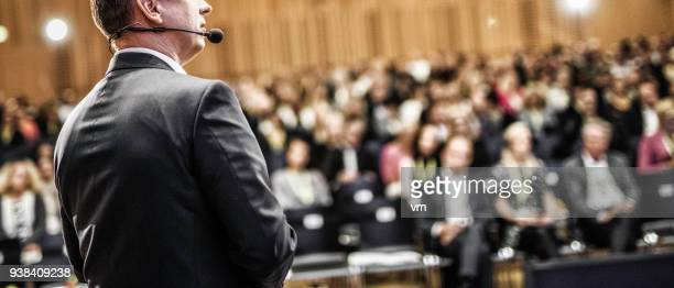 entrepreneurial speech at a conference - conference stock pictures, royalty-free photos & images