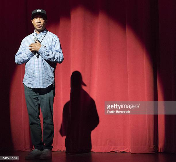 Entrepreneur/producer Russell Simmons speaks at the All Def Digital hosts Town Hall at The Montalban Theater on June 23 2016 in Los Angeles California