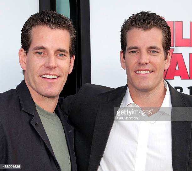 Entrepreneurs Cameron Winklevoss and Tyler Winklevoss arriving at HBO's Silicon Valley Season 2 Premiere at the El Capitan Theatre on April 2 2015 in...